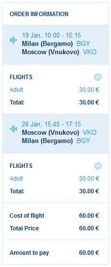 Milano (Bergamo) >> Moskva >> Milano (Bergamo)
