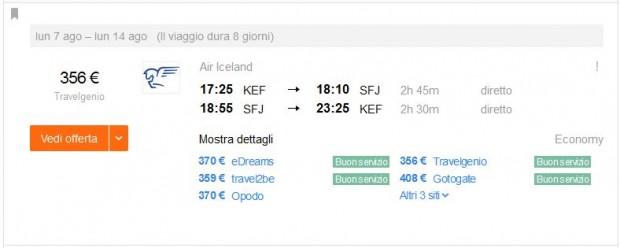 Reykjavik >> Kangerlussuaq (Greenland) >> Reykjavik