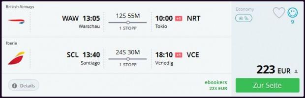 Varšava >> Tokio ili Osaka + Santiago de Chile >> Venecija ili Milano