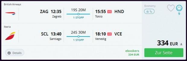 Zagreb >> Tokio ili Osaka + Santiago de Chile >> Venecija ili Milano