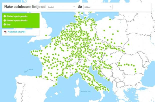 Mapa Flixbus destinacija