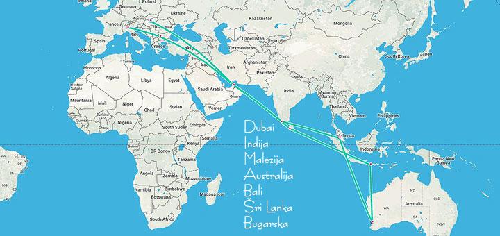 karta sveta dubai Kružno low cost putovanje po Aziji i Australiji | Tripologia karta sveta dubai