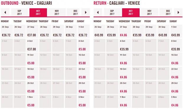 Venecija >> Cagliari >> Venecija, cijeli mjesec