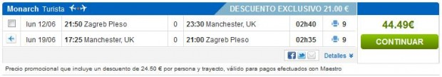 Zagreb >> Manchester >> Zagreb, na rumbo.es stranicama