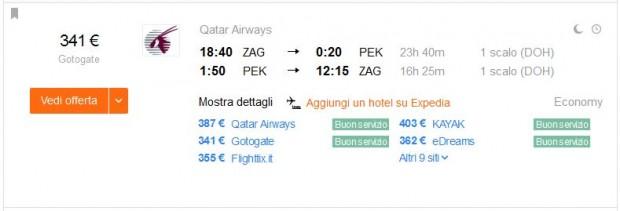 Zagreb >> Peking >> Zagreb, 1 osoba