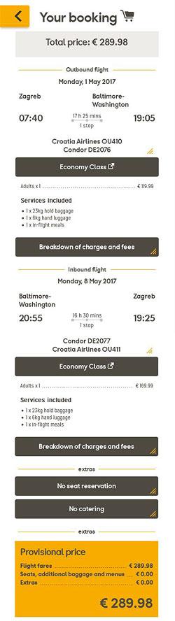 Zagreb >> Baltimore/Washington >> Zagreb