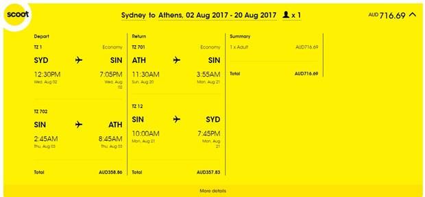 Sydney >> Atena >> Sydney