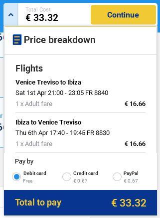 Venecija (Treviso) >> Ibiza >> Venecija (Treviso), direktno na Ryanair stranicama