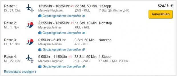 Zagreb >> Auckland >> Kuala Lumpur >> Zagreb (sa višednevnim zadržavanjem u Maleziji)