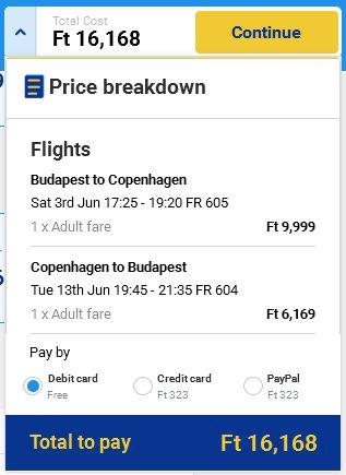 Budimpešta >> Kopenhagen >> Budimpešta, direktno na Ryanair stranicama