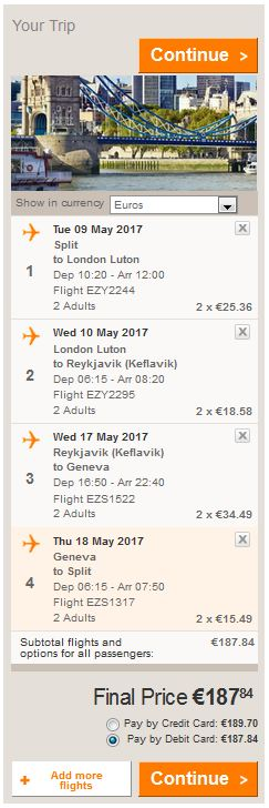 Split >> London >> Reykjavik >> Ženeva >> Split