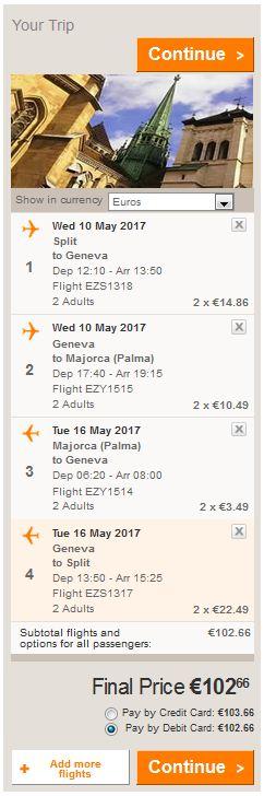 Split >> Ženeva >> Palma de Mallorca >> Ženeva >> Split