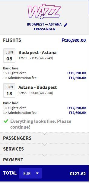 Budimpešta >> Astana >> Budimpešta
