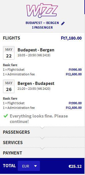 Budimpešta >> Bergen >> Budimpešta, za članove WIZZ Discount Cluba