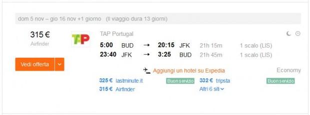Budimpešta >> New York >> Budimpešta, na kayak.it stranicama