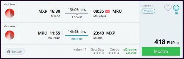 Milano >> Port Louis (Mauricijus) >> Milano