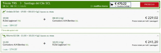 Trst >> Santiago de Chile >> Trst, na Alitalia stranicama