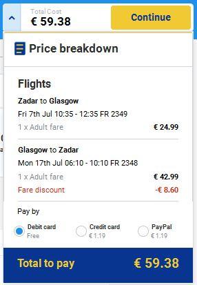 Zadar >> Glasgow >> Zadar