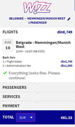 Beograd >> Memmingen