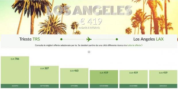 Trst >> Los Angeles >> Trst, direktno na Alitalia stranicama