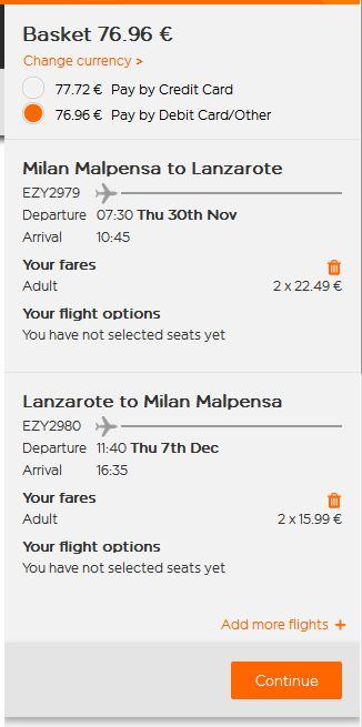 Milano >> Lanzarote >> Milano