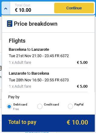 Barcelona >> Lanzarote >> Barcelona
