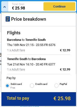 Barcelona >> Tenerife >> Barcelona