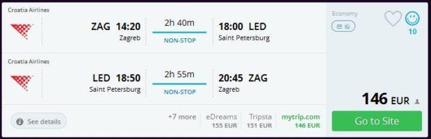 Zagreb >> St. Petersburg >> Zagreb, na momondo.com stranicama