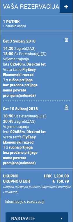 Zagreb >> St. Petersburg >> Zagreb, na Croatia Airlines stranicama