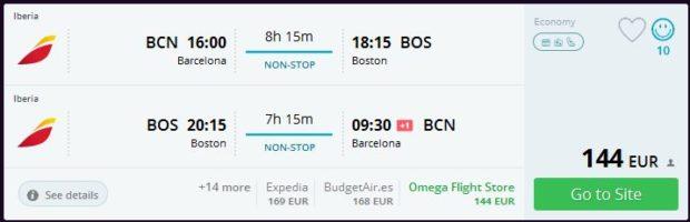 Barcelona >> Boston >> Barcelona, na Momondo stranicama