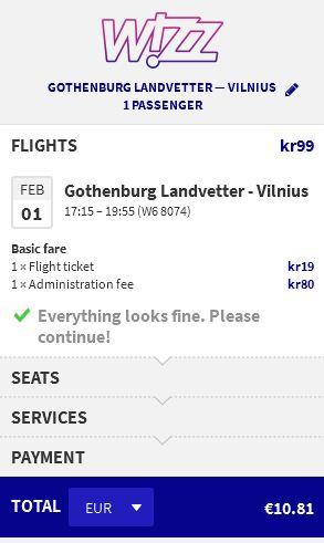 Gothenburg >> Vilnius