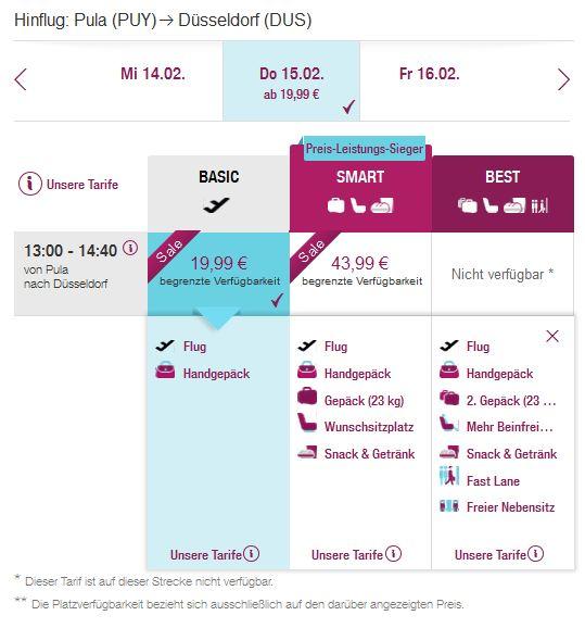 Pula >> Dusseldorf, direktno na Eurowings stranicama