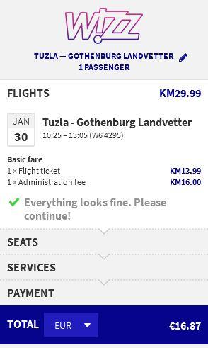 Tuzla >> Gothenburg
